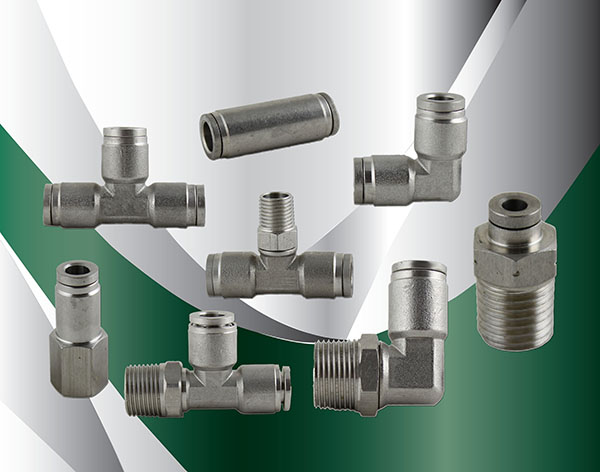 Metric stainless steel push in fittings polyconn